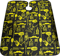 "Hairway Cutting cape ""Barber"", black-yellow"